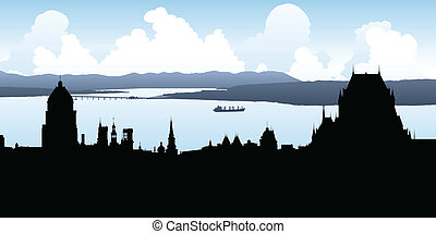 Quebec City Skyline - Skyline silhouette of the historic...