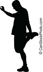 Quad Stretch - A silhouette of a man doing a quad stretch.