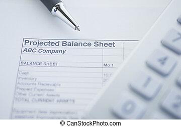 Balance accounts - financial balance sheet with calculator...