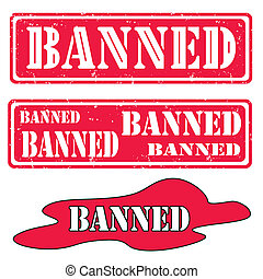 Set banned - Set of rubber stamps with text banned,vector...