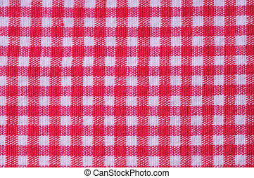 checkered textile - detail view of the white and red...