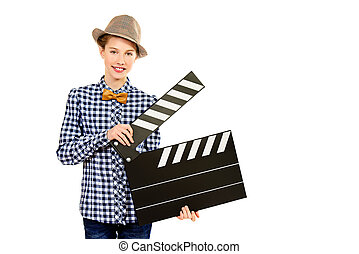 clapper board - Beautiful girl teenager holding clapper...