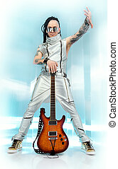 eccentric - Modern rock musician posing with his electric...