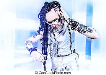 dj style - Portrait of the eccentric futuristic man in...