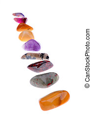 gemstone - selection of gemstones over white background