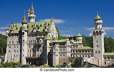 Neuschwanstein Castle in Germany. Klagenfurt. Miniature Park...