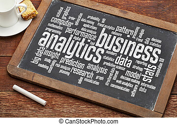business analytics word cloud on a vintage slate blackboard