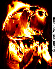 Flaming Astronaut - Illustration of an astronaut in fiery...