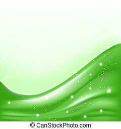 abstract green background with folding waves and stars