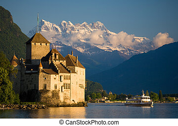 Chillon Castle - Chillon castle with the mountains Dents du...