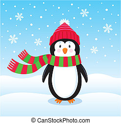 Lonely Penguin in the Snow - Cartoon illustration of a...