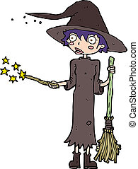 cartoon witch casting spell