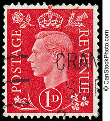 Stamp printed in Australia shows King George VI - UK - CIRCA...