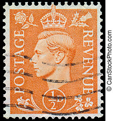 Stamp printed in UK shows image of the George VI - UK -...