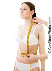 Measuring womans breat waist lenght, with centimetre...