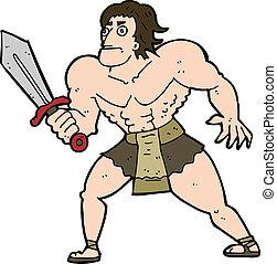 caricatura, fantasia, herói, homem