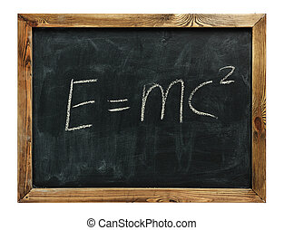text e=mc2 drawn on a chalkboard isolated on white