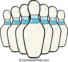 cartoon bowling pins