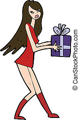 cartoon fashion girl with present