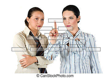 Business woman with diagram - Two business woman with a...