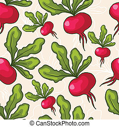 Seamless vector hand drawn radish background