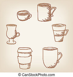 Vector set of hand drawncoffee mugs and cups