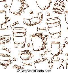 Seamless coffee cups and mugs pattern