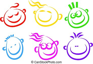 happy face icons - A set of simple happy face icons isolated...
