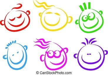 feliz, cara, iconos