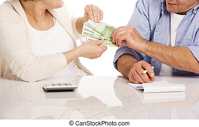 Senior couple with money - Senior couple counting money at...