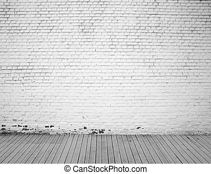 brick wall  - white brick wall and wood floor background