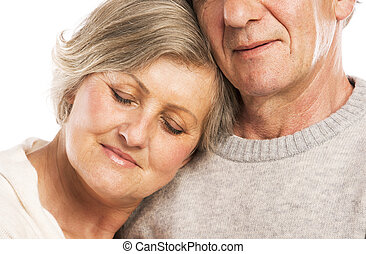 Senior couple in love - Studio portrait of happy senior...