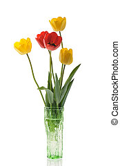 springtime bouquet - bouquet with red and yellow tulips in...