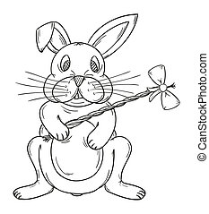 easter bunny - sketch of the easter bunny on white...