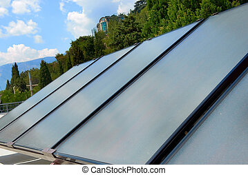 Solar panels on the roof - Solar water heating system on the...