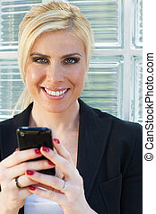 mujer de negocios, Utilizar, smartphone