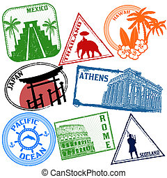 Set of travel stamps - Set of stylized grunge travel stamps...