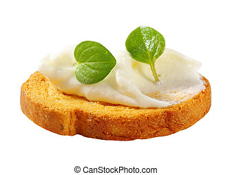 Mini toast with cream cheese - Small round toast with cheese...