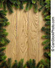 Christmas Vintage decoration border design over old wood...