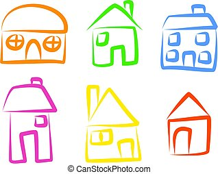 house icons - A set of simple house icons isolated on white