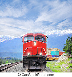 Freight train. - Freight train in Canadian rockies.