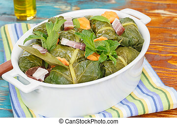 Stuffed Collard Greens - Collard Greens Stuffed Rolls with...