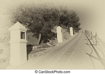 Via crucis in old black and white - A via crucis in a...