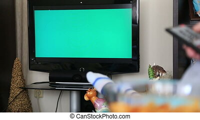 Woman Watching Chromakey TV