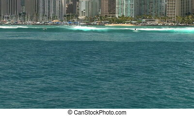 Honolulu Skyline from boat - Honolulu Skyline, Oahu, Hawaii,...