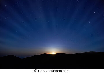 Blue dark night sky with stars - Blue dark night sky with...