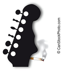 Headstock - A headstock with a face silhouette smoking a...