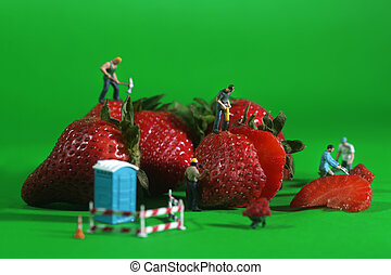 Miniature Construction Workers in Conceptual Food Imagery...