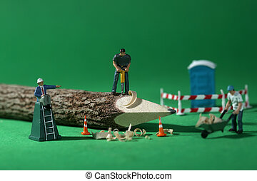 Construction Workers in Conceptual Imagery With Pencil -...