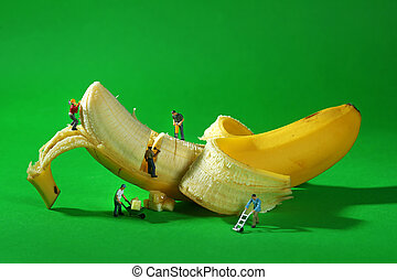 Construction Workers in Conceptual Food Imagery With Banana...